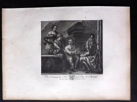 After Karel Dujardin C1820 Antique Print. Peasants and a soldier Eating